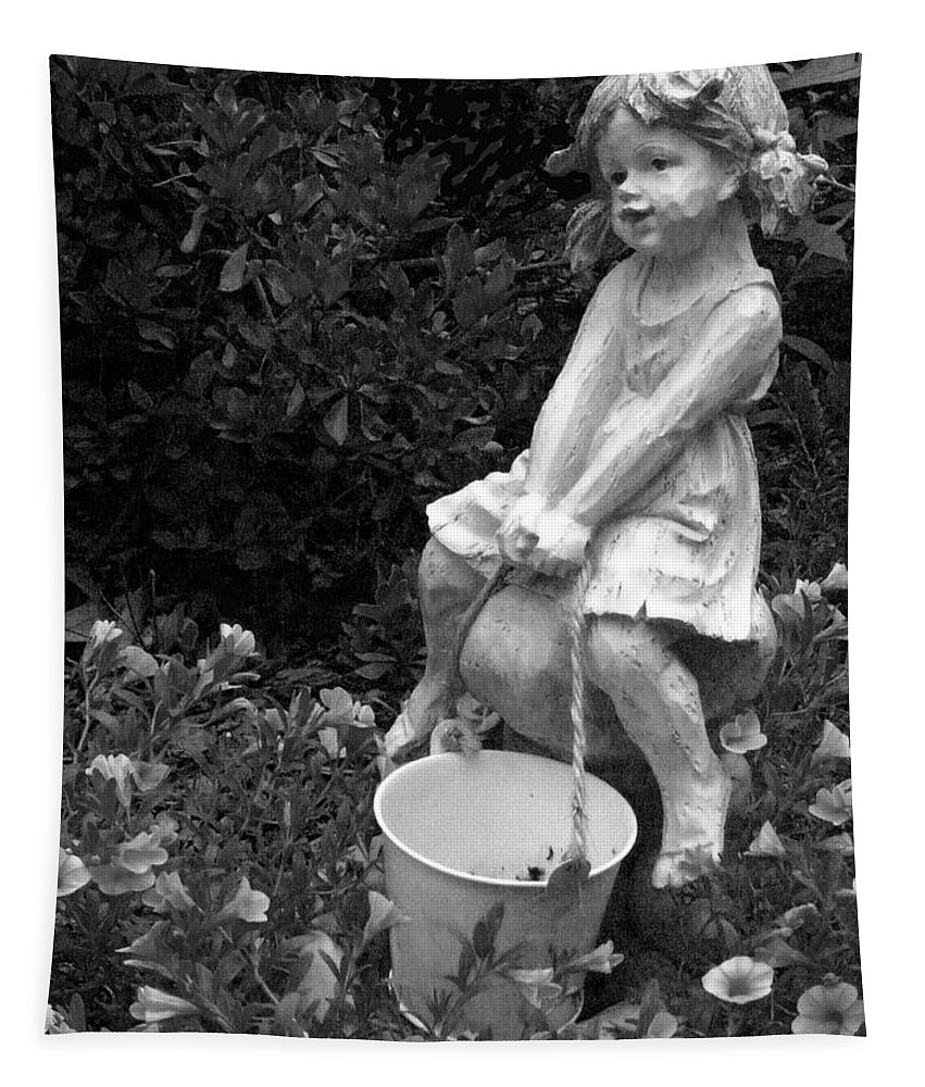 Girl Tapestry featuring the photograph Girl On A Mushroom by Sandi OReilly