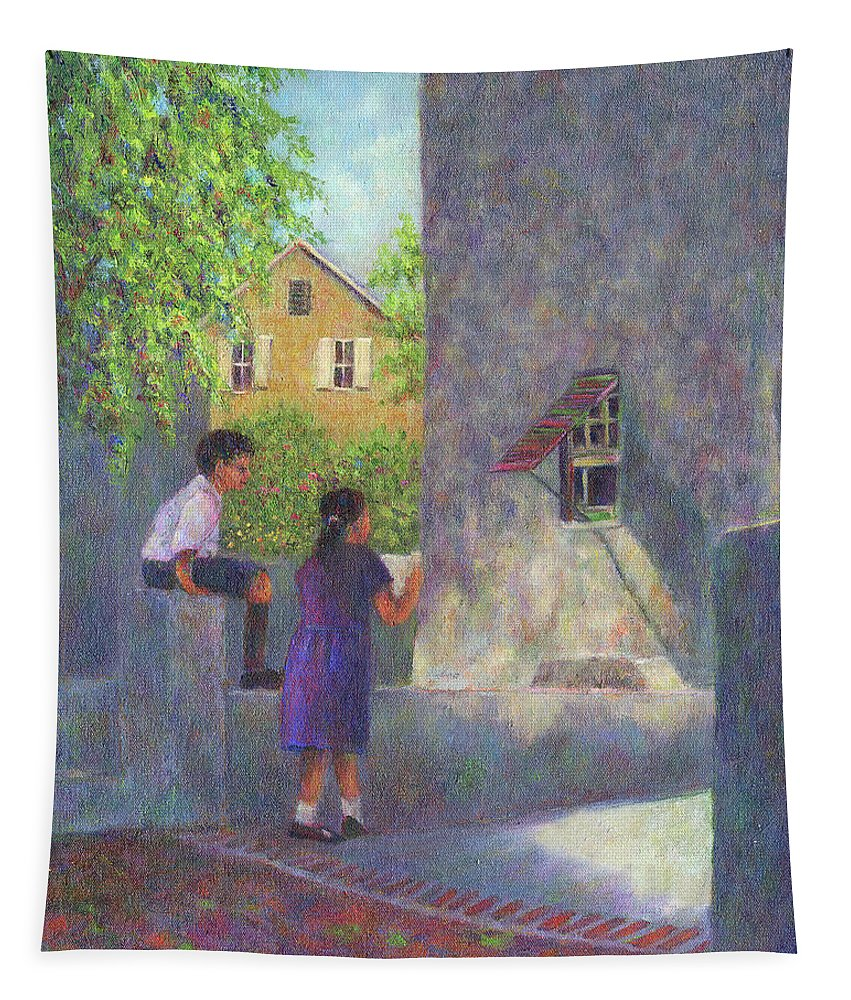 Boy Tapestry featuring the painting Girl Reading A Letter by Susan Savad