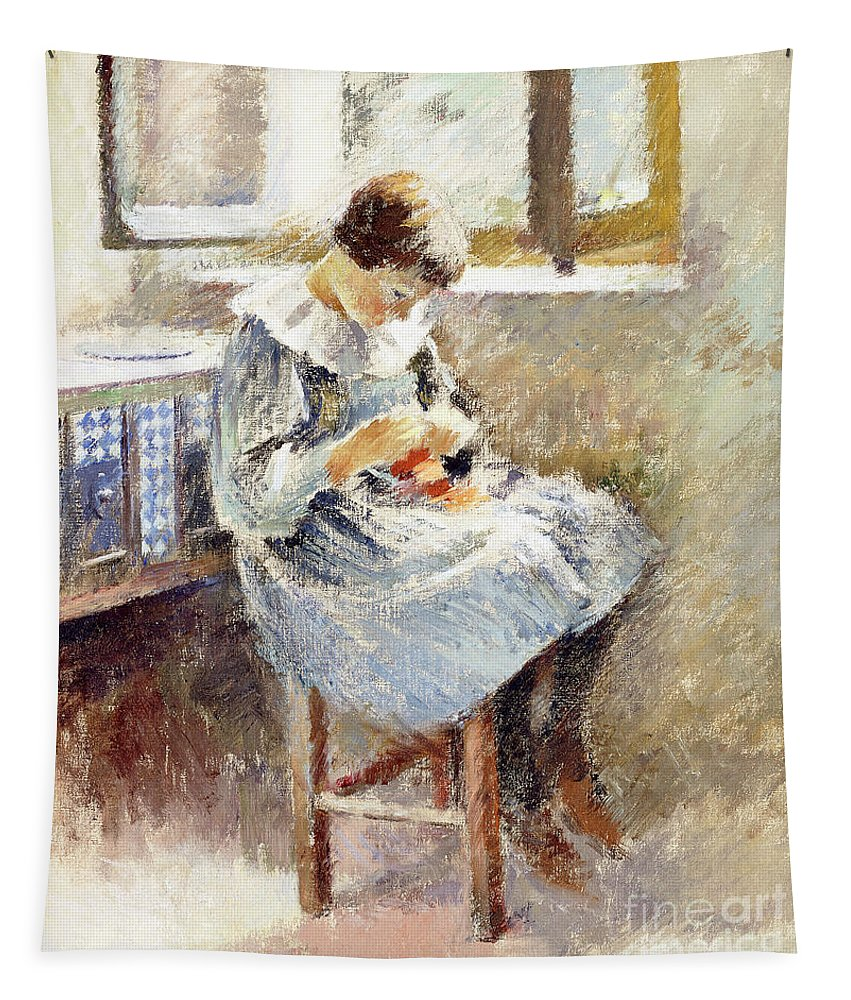 Girl Sewing Tapestry featuring the painting Girl Sewing by Theodore Robinson