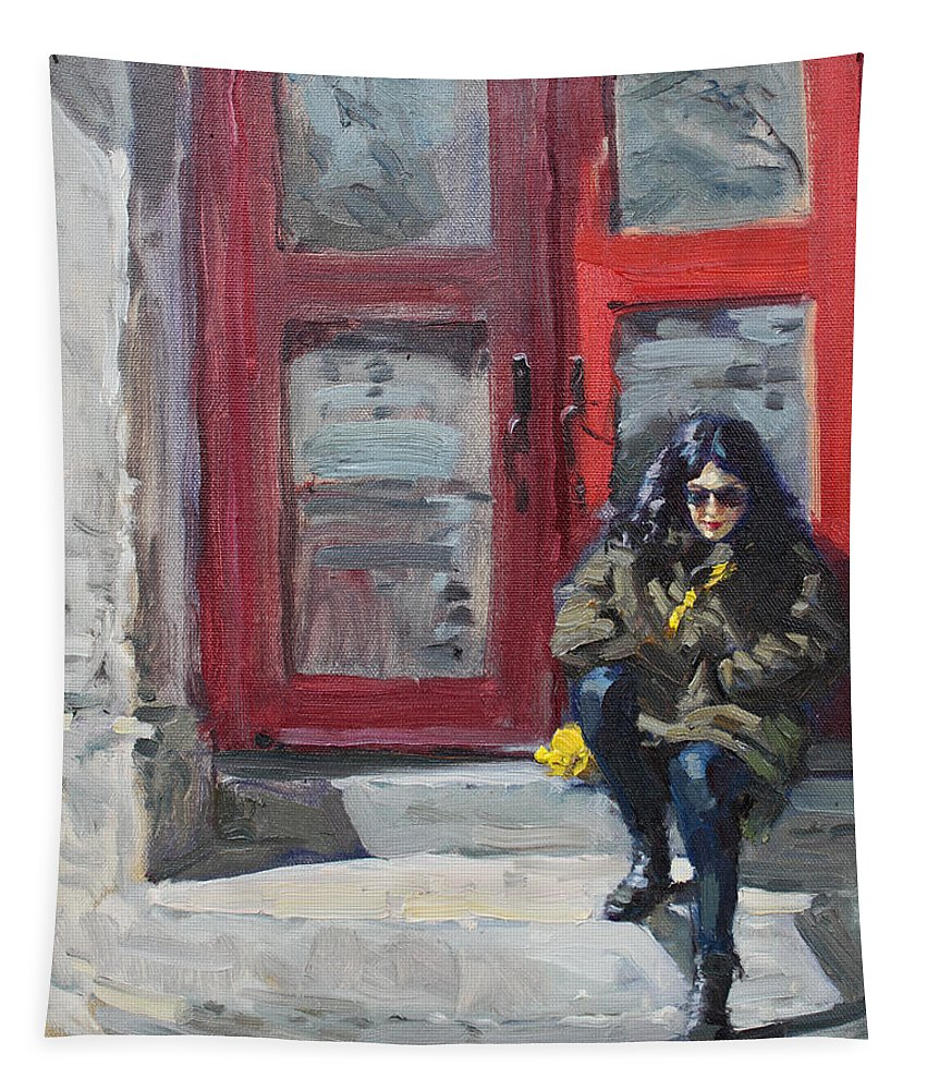Girl Sitting Tapestry featuring the painting Girl Sitting At Red Doorstep by Ylli Haruni