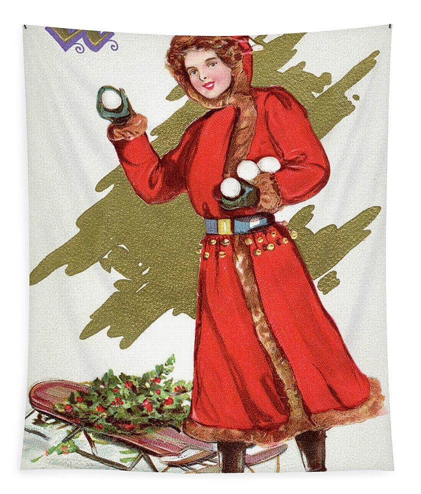Christmas Tapestry featuring the painting Girl Throwing Snowballs In A Christmas Landscape by American School