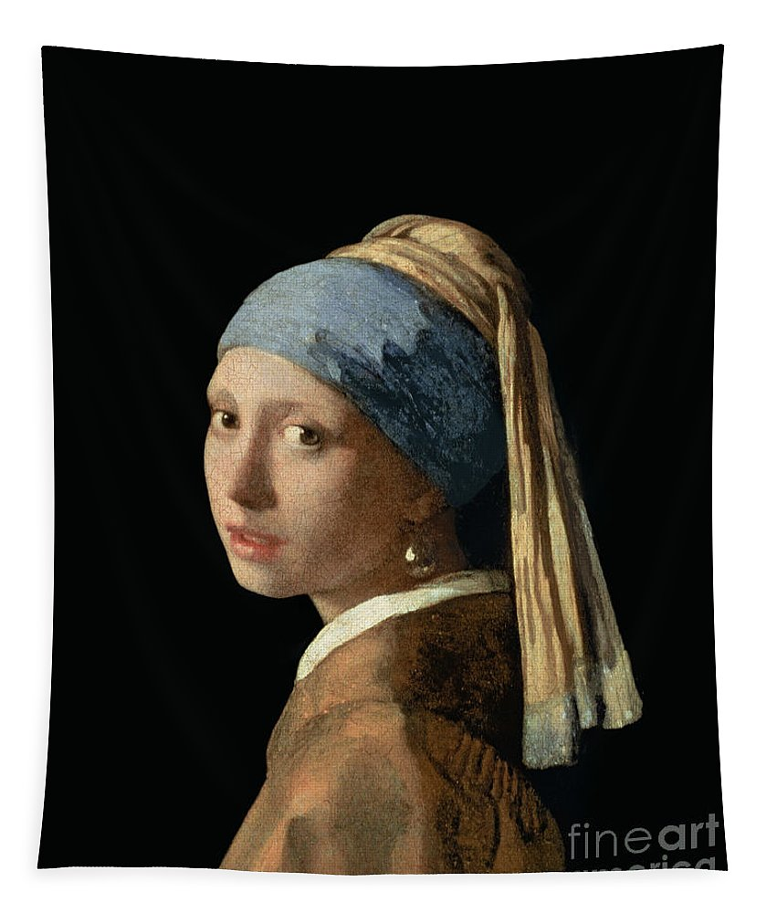 Jan Vermeer Tapestry featuring the painting Girl With A Pearl Earring by Jan Vermeer