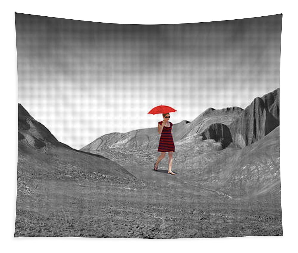 Surrealism Tapestry featuring the photograph Girl With A Red Umbrella 2 by Mike McGlothlen