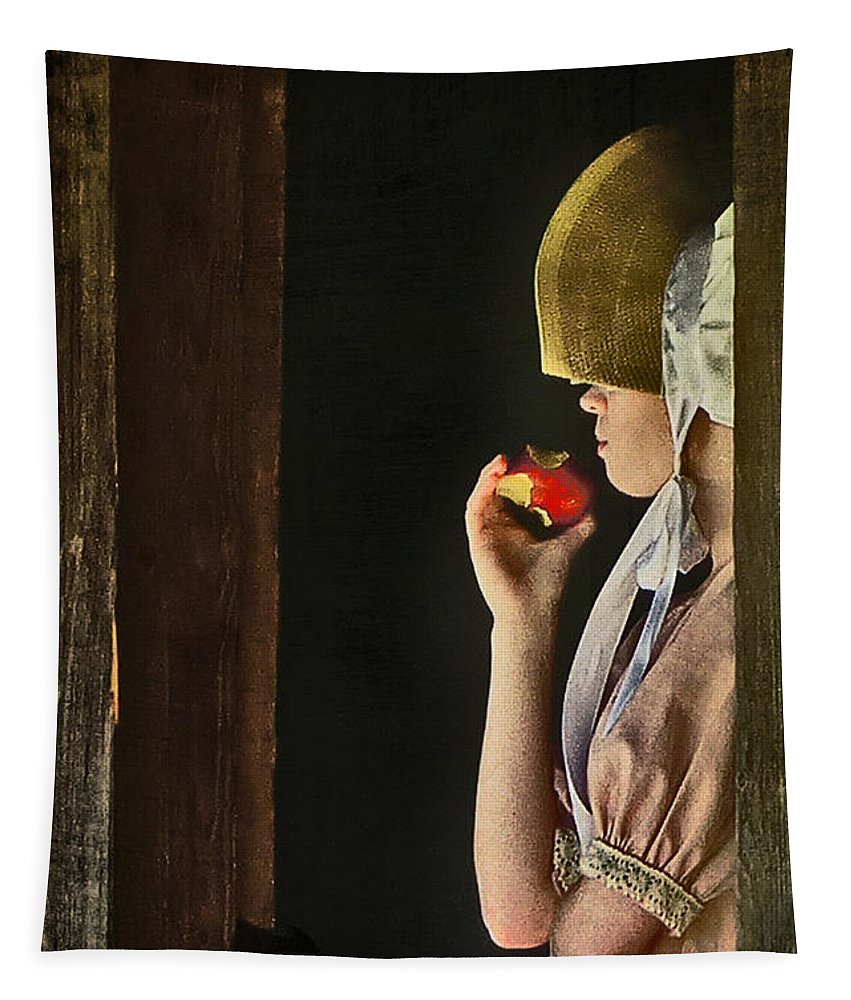Portraits Tapestry featuring the photograph Girl With Apple by John Anderson
