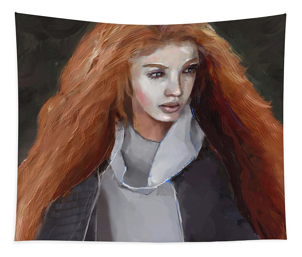 Figure Tapestry featuring the digital art Girl With The Red Hair by Scott Bowlinger