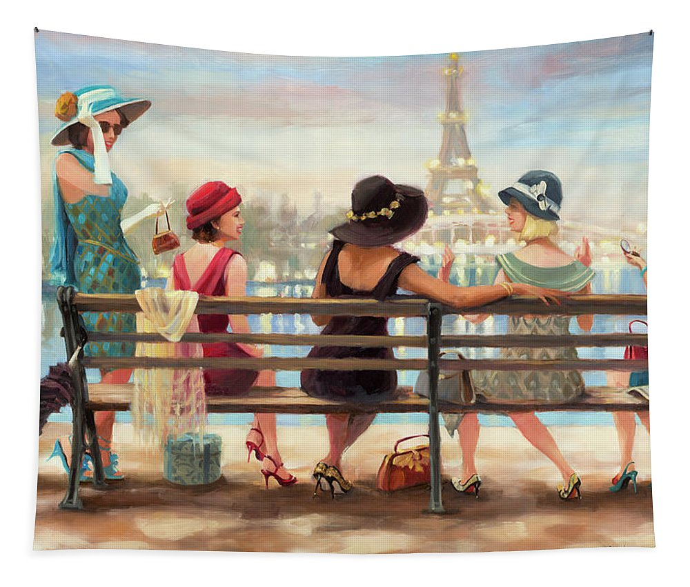 Paris Tapestry featuring the painting Girls Day Out by Steve Henderson