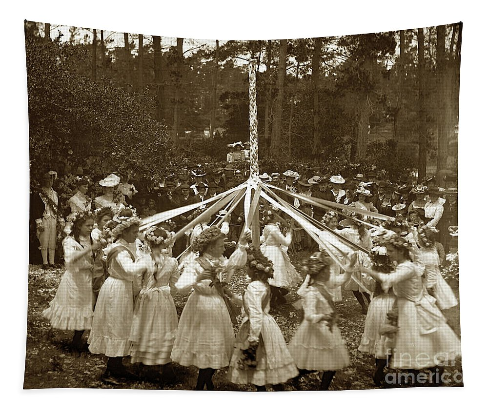 Girls Tapestry featuring the photograph Girls Doing The Maypole Dance Pacific Grove Circa 1890 by California Views Archives Mr Pat Hathaway Archives