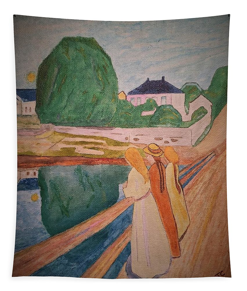 Munch Tapestry featuring the painting Girls On The Bridge by John Cunnane