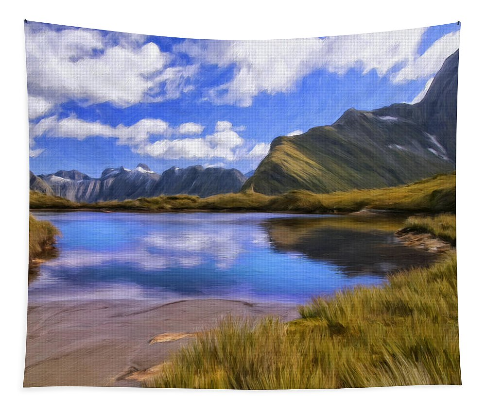Milford Track Tapestry featuring the painting Glacier Lake On The Milford Track by Dominic Piperata