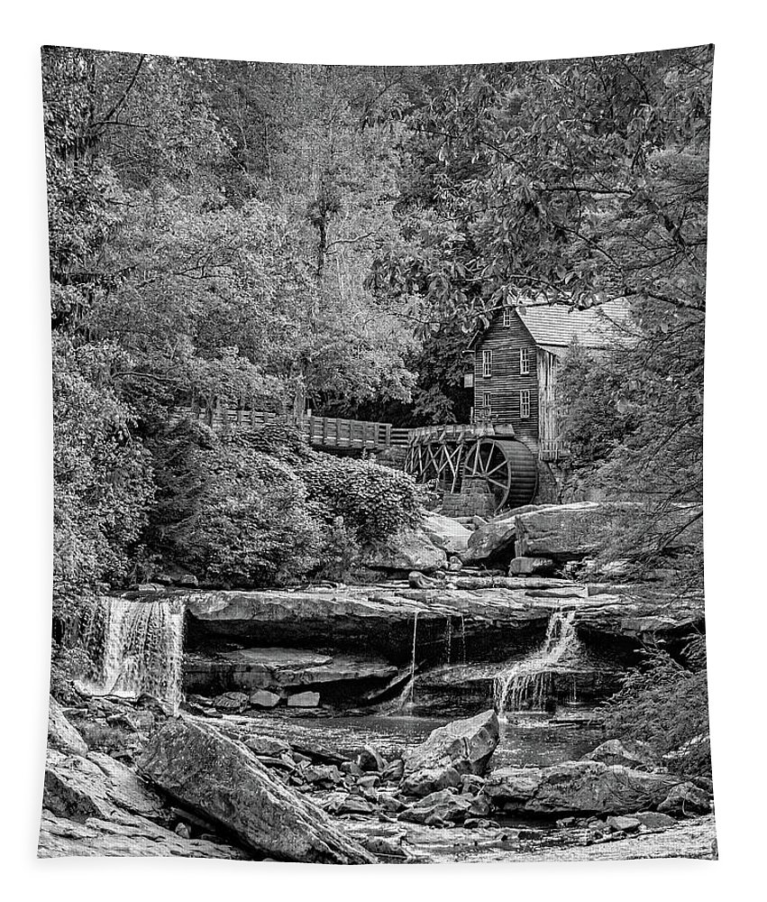 Mill Tapestry featuring the photograph Glade Creek Grist Mill 3 Bw by Steve Harrington
