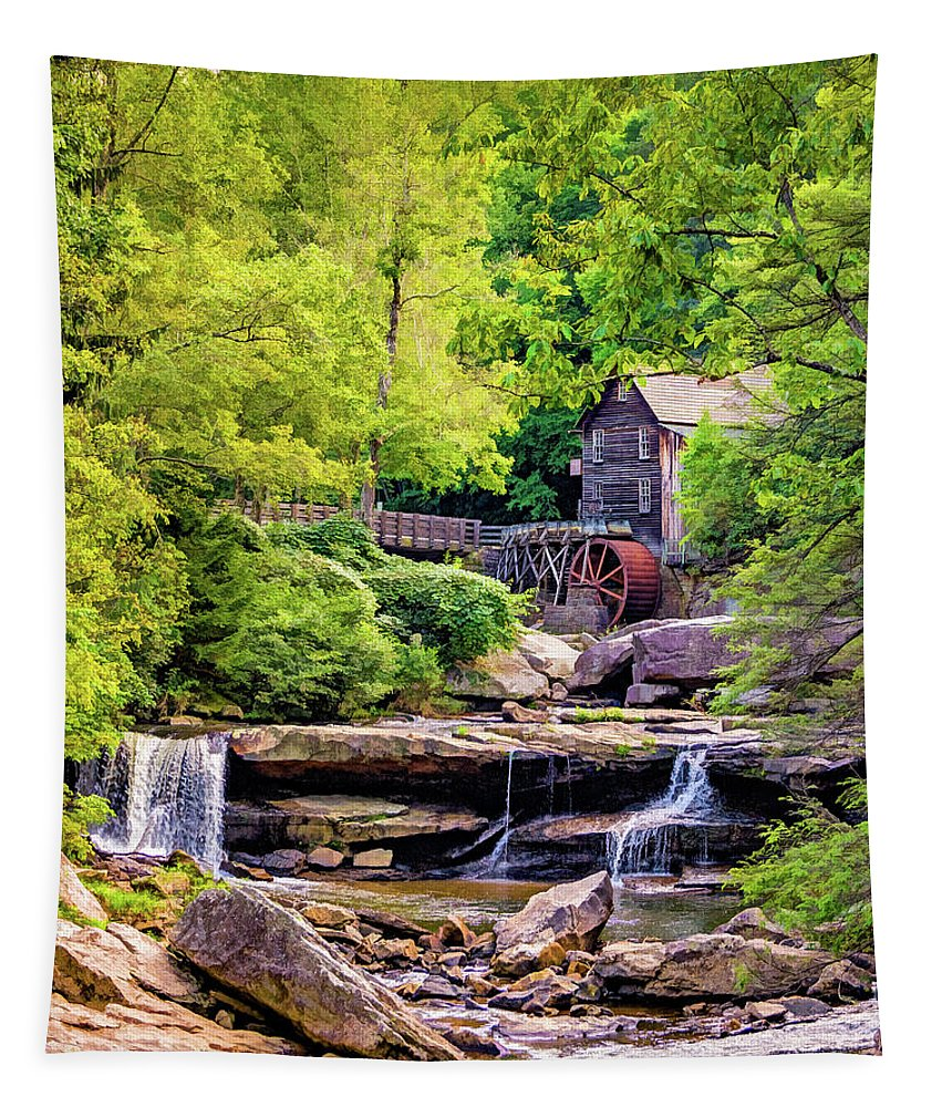 Mill Tapestry featuring the photograph Glade Creek Grist Mill 3 - Paint by Steve Harrington
