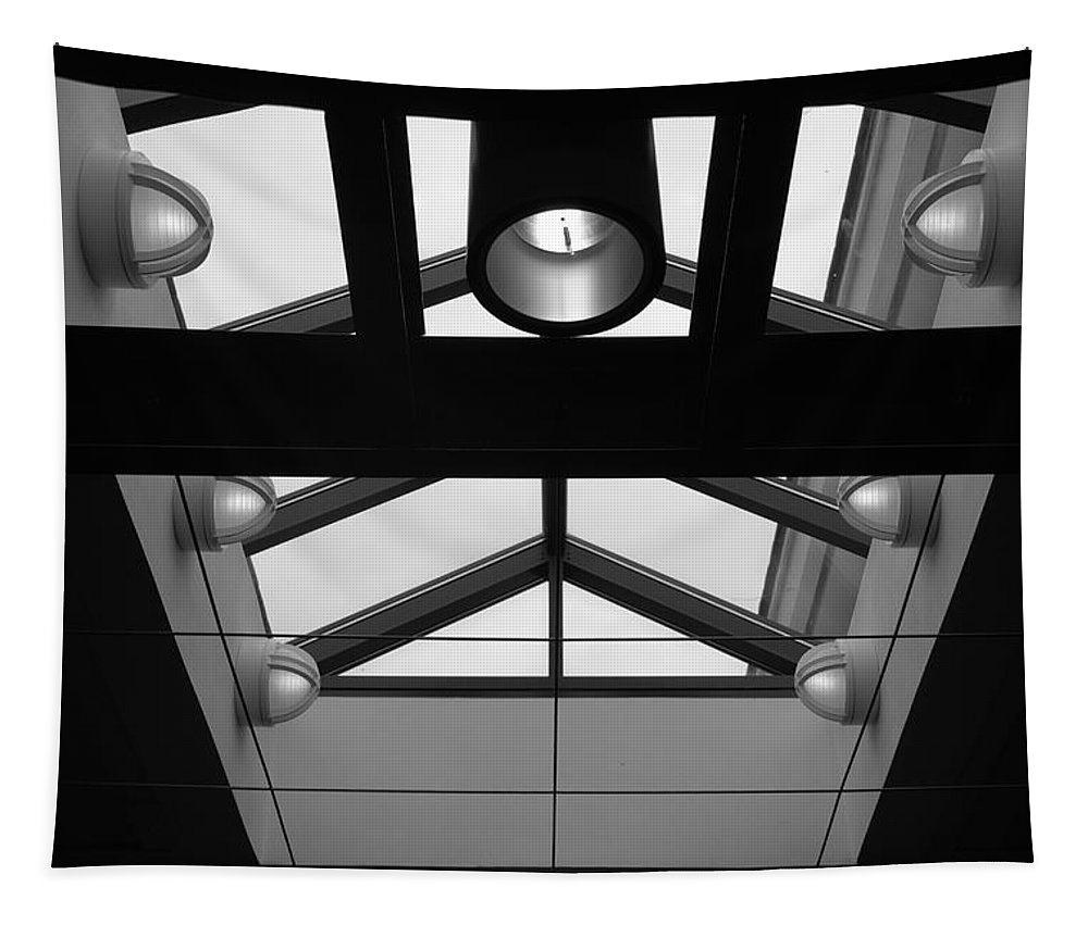 Black And White Tapestry featuring the photograph Glass Sky Lights by Rob Hans