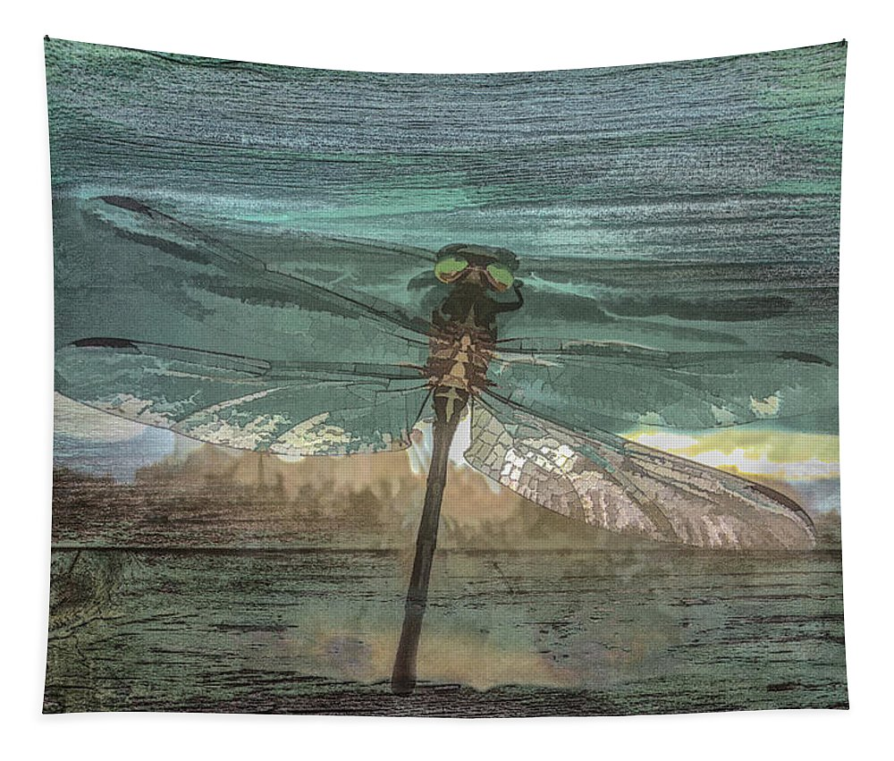 Dragon Tapestry featuring the photograph Glistening On Wood by Debra and Dave Vanderlaan