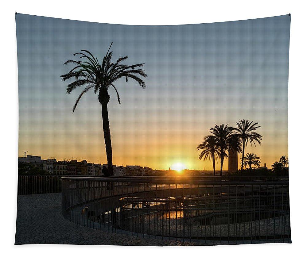 Georgia Mizuleva Tapestry featuring the photograph Glorious Sevillian Sunset With Palms by Georgia Mizuleva