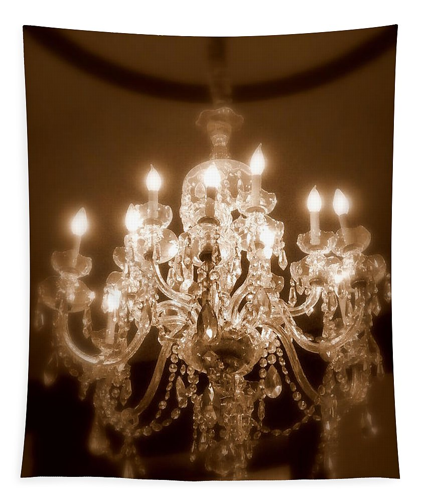 Chandelier Tapestry featuring the photograph Glow From The Past by Karen Wiles