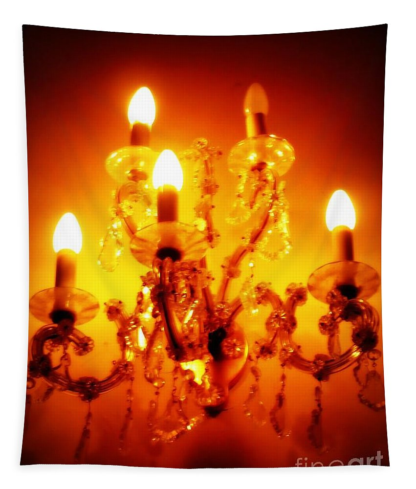 Dining Room Decor Tapestry featuring the photograph Glowing Chandelier--companion Piece by Carol Groenen