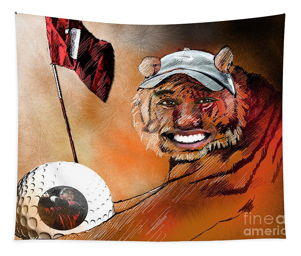Golf Art Tapestry featuring the painting Go For It by Miki De Goodaboom