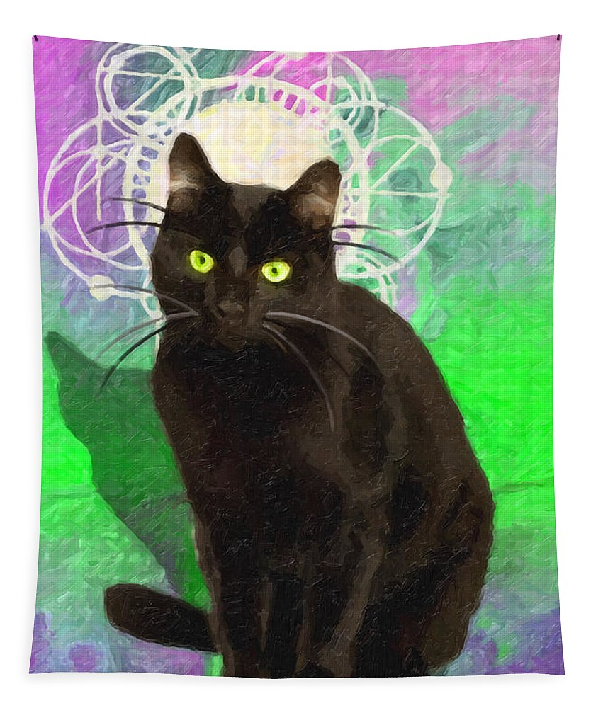 Cat Tapestry featuring the painting Goborino by Joaquin Abella