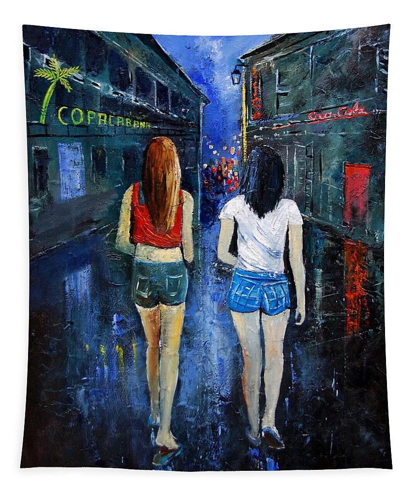 Girl Tapestry featuring the painting Going Out Tonight by Pol Ledent
