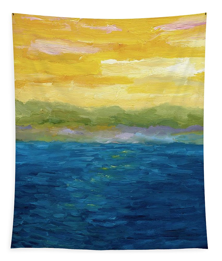 Lake Tapestry featuring the painting Gold And Pink Sunset by Michelle Calkins