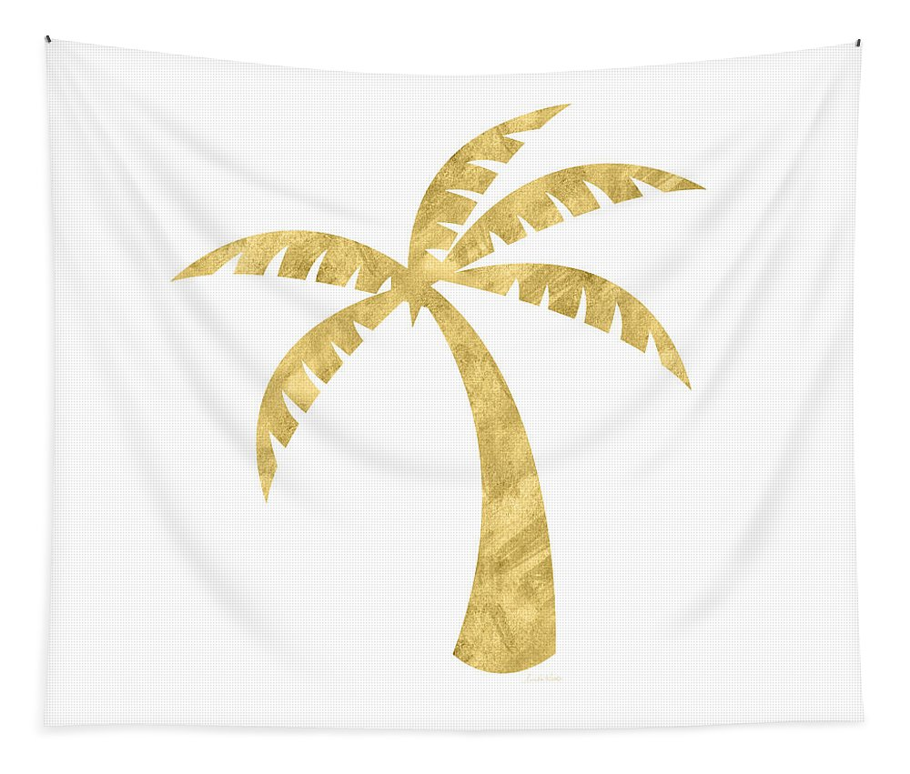 Palm Tree Tapestry featuring the mixed media Gold Palm Tree- Art by Linda Woods by Linda Woods