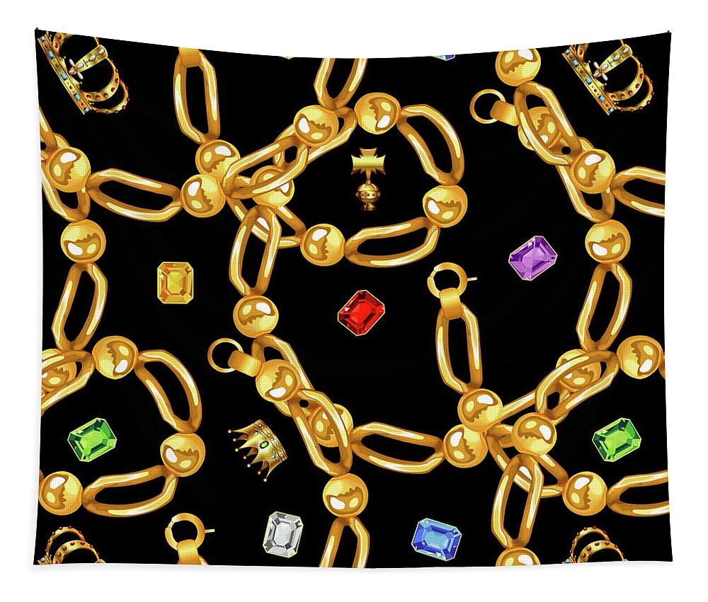 Jewelry Tapestry featuring the photograph Gold Party 3 by Mark Ashkenazi