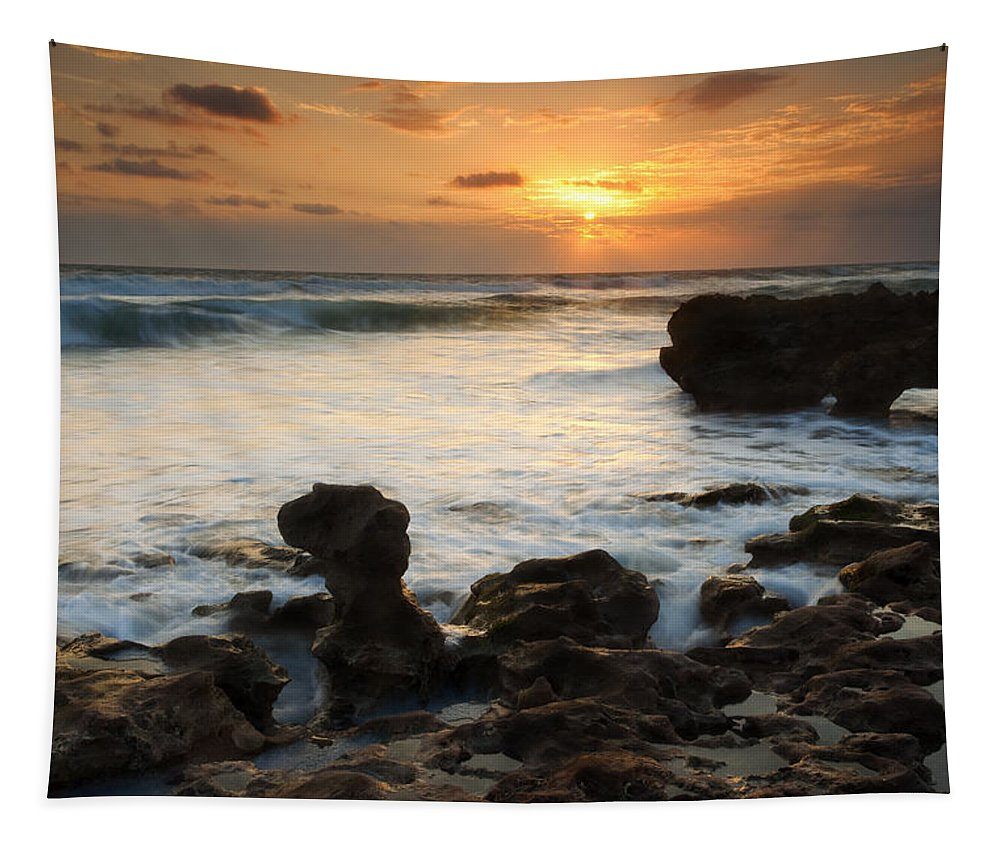 Sunrise Tapestry featuring the photograph Golden Arch by Mike Dawson