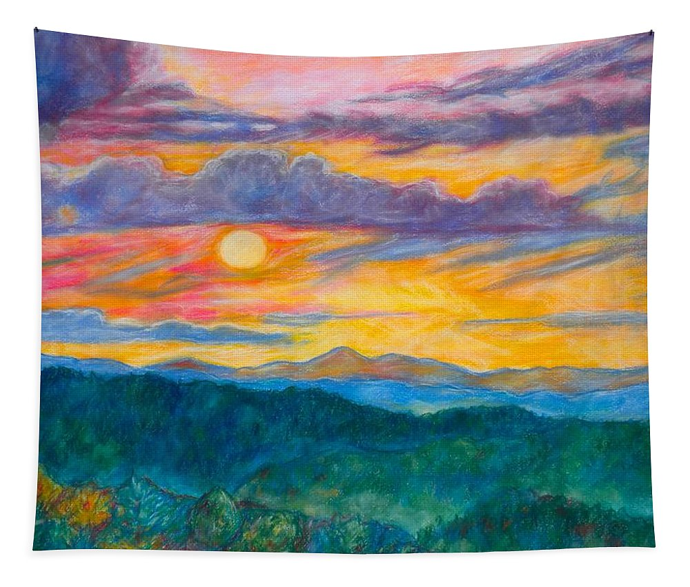 Landscape Tapestry featuring the painting Golden Blue Ridge Sunset by Kendall Kessler