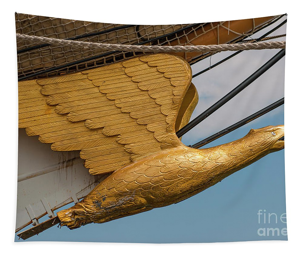 United States Coast Guard Eagle Masthead Tapestry featuring the photograph Golden Eagle Masthead by Dale Powell