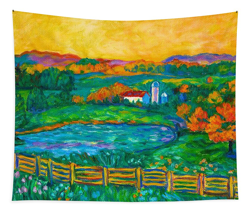 Landscape Tapestry featuring the painting Golden Farm Scene Sketch by Kendall Kessler