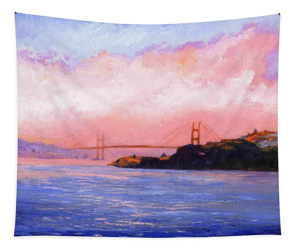 Landscape Tapestry featuring the painting Golden Gate Bridge by Frank Wilson