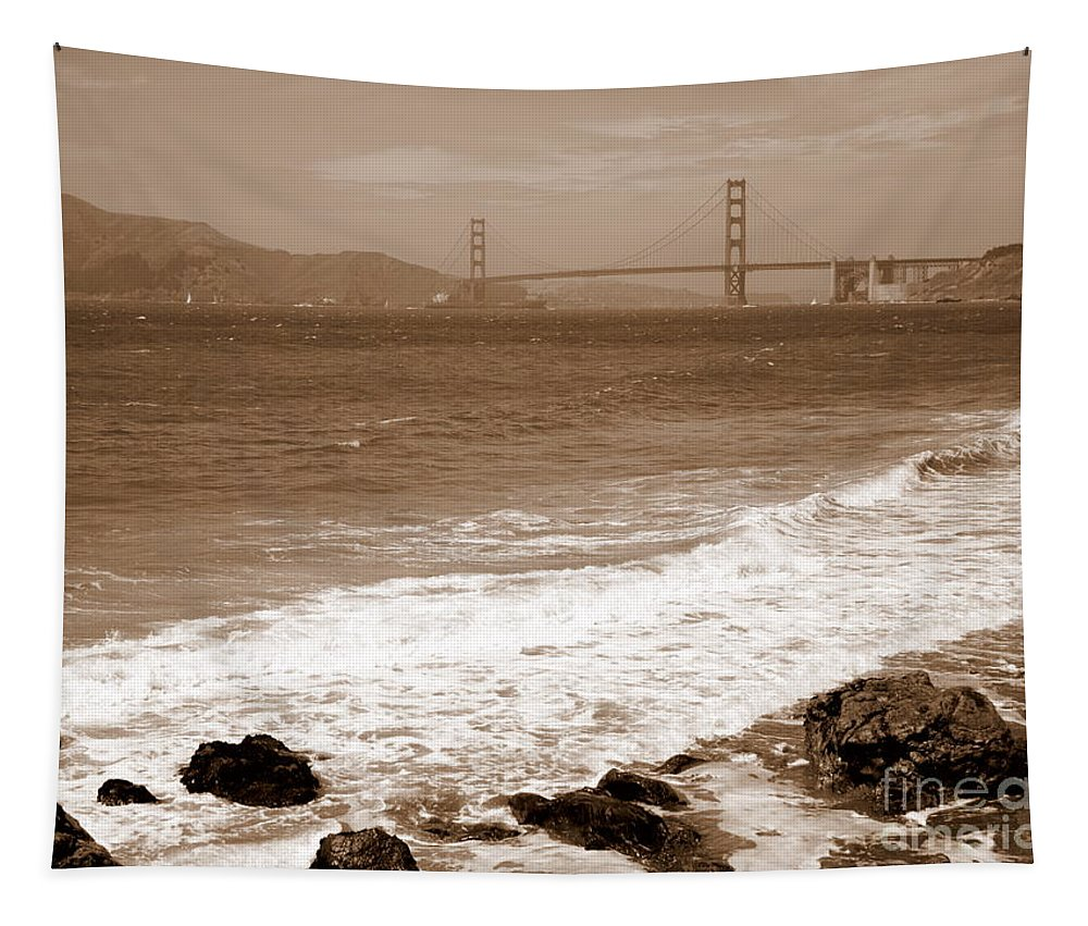 Golden Gate Bridge Tapestry featuring the photograph Golden Gate Bridge With Shore - Sepia by Carol Groenen