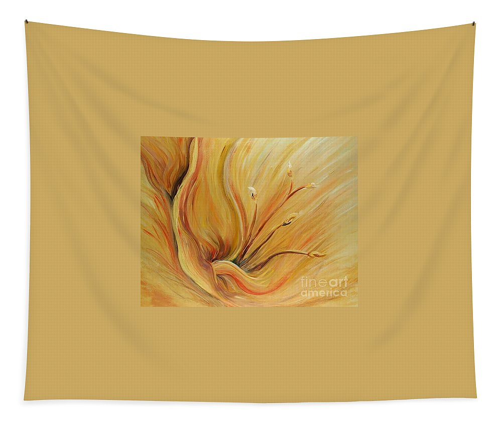 Gold Tapestry featuring the painting Golden Glow by Nadine Rippelmeyer