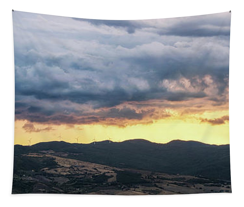 Sun Tapestry featuring the photograph Golden Hour In Volterra by Matteo Viviani