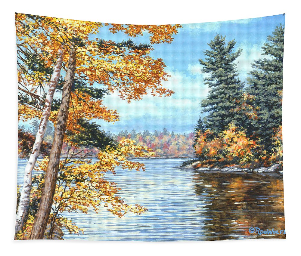 Autumn Tapestry featuring the painting Golden Lake by Richard De Wolfe