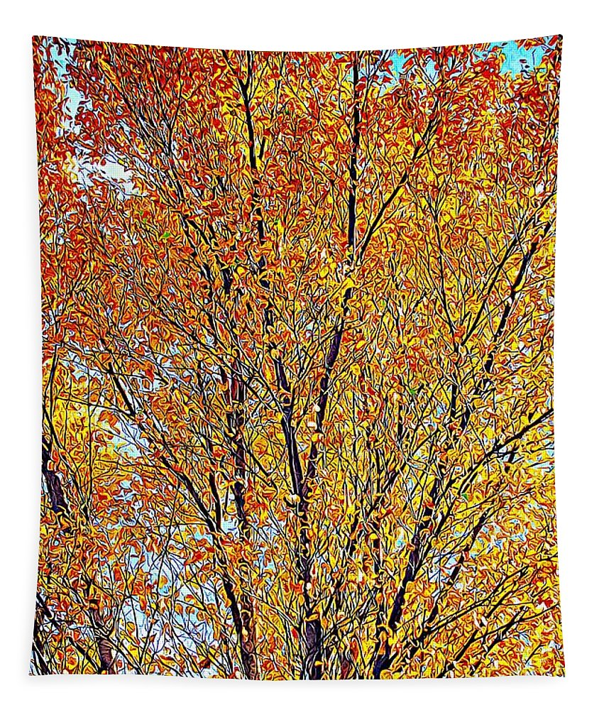 Tree Tapestry featuring the photograph Golden Leaves - Oil Paint by Tatiana Travelways