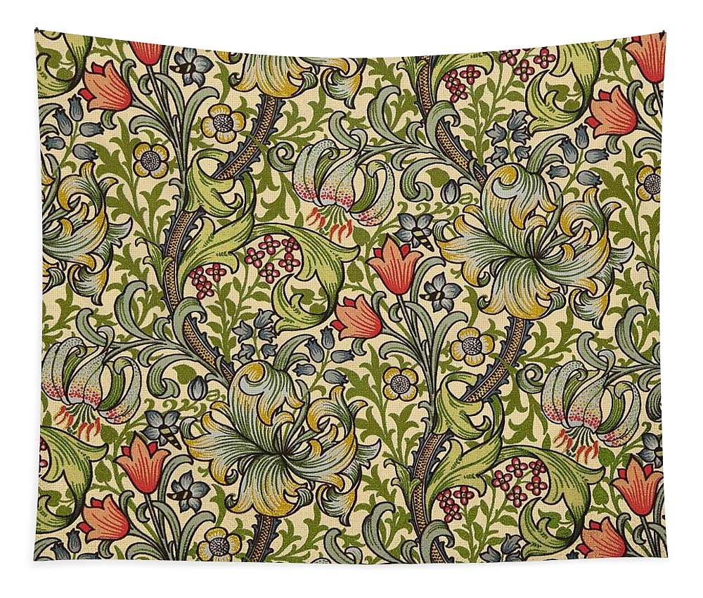 William Tapestry featuring the mixed media Golden Lily Pattern by Philip Ralley