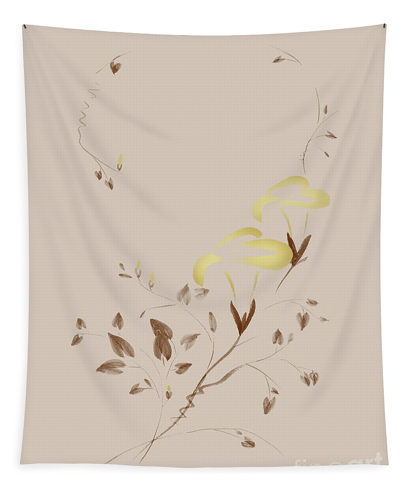 Flower Tapestry featuring the mixed media Golden Morning Glory Flowers Sumi-e Illustration Artistic Design by Awen Fine Art Prints
