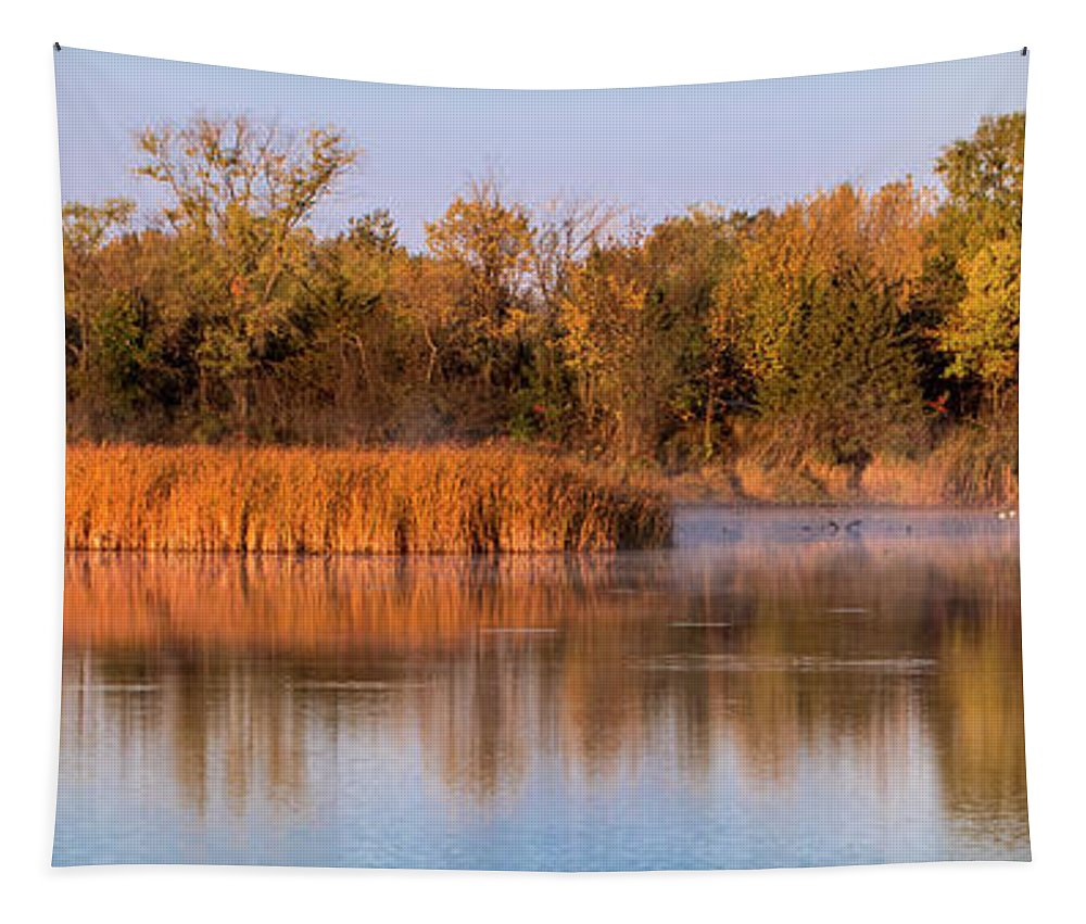 Water Tapestry featuring the photograph Golden Morning Shoreline Pano by Patti Deters