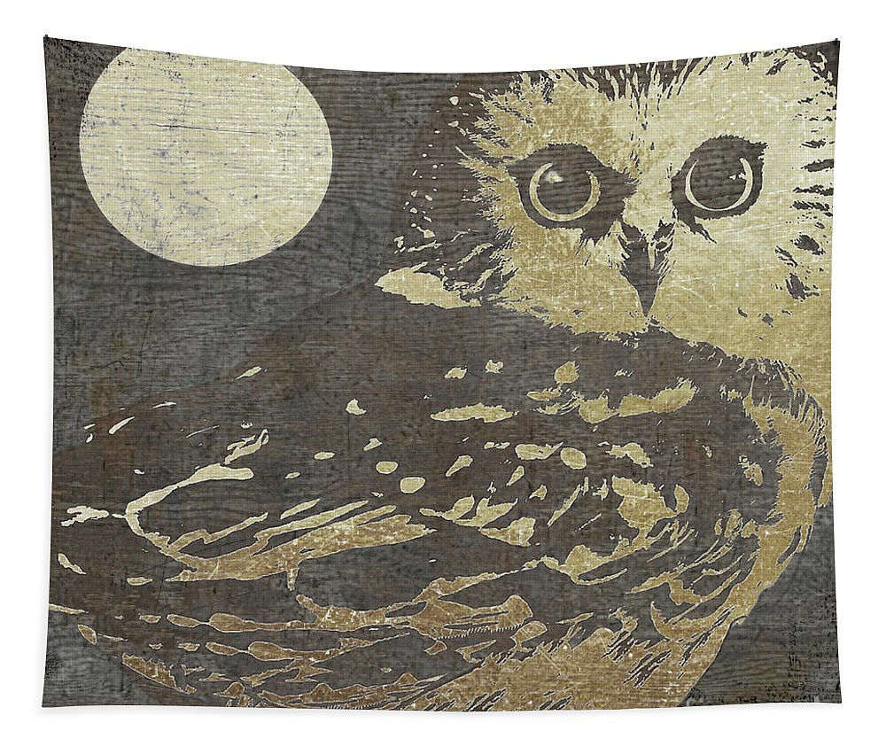Owl Tapestry featuring the painting Golden Owl by Mindy Sommers