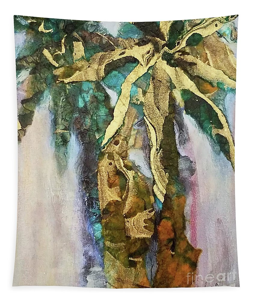 Abstract Tapestry featuring the mixed media Golden Palm by Sharon Eng