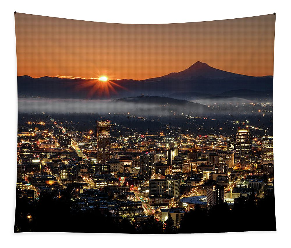 Golden Portland Morning Tapestry featuring the photograph Golden Portland Morning by Wes and Dotty Weber