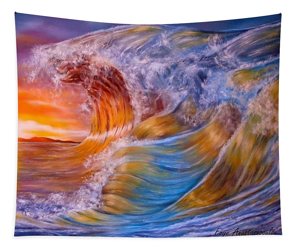 Waves Tapestry featuring the painting Golden Rage by Faye Anastasopoulou