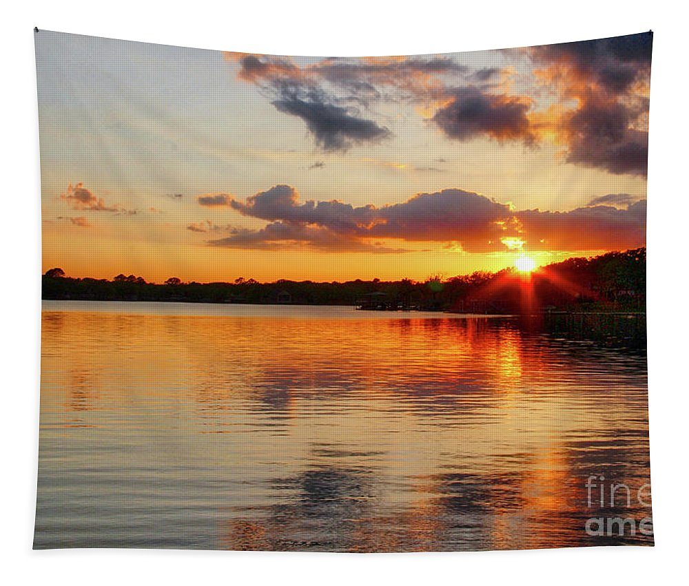 Sunset Tapestry featuring the photograph Golden Rays by Linda James