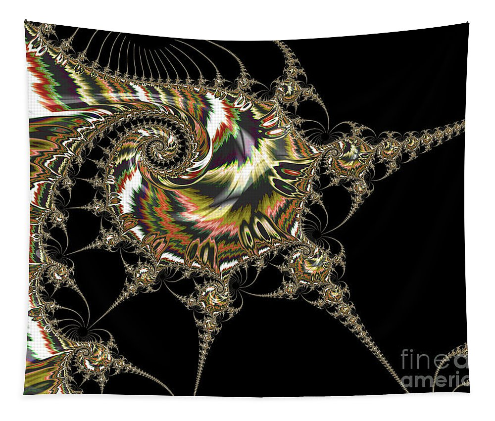 Fractals Tapestry featuring the digital art Golden Spirals And Spikes by Elisabeth Lucas