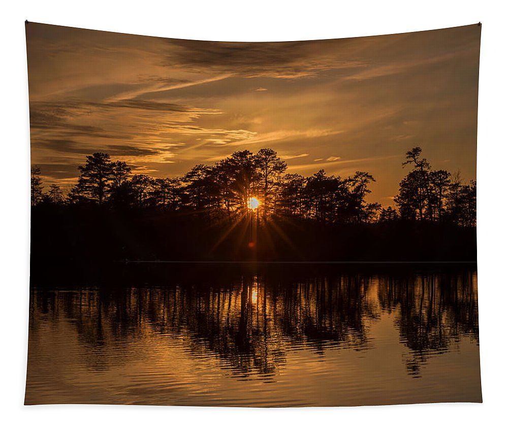 Terry D Photography Tapestry featuring the photograph Golden Sunburst At The Lake New Jersey by Terry DeLuco