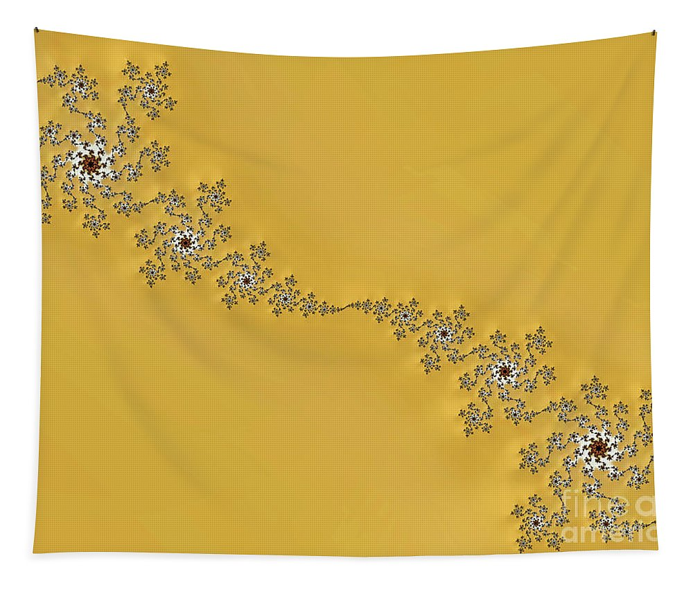 Fractals Tapestry featuring the digital art Golden Wave by Elisabeth Lucas