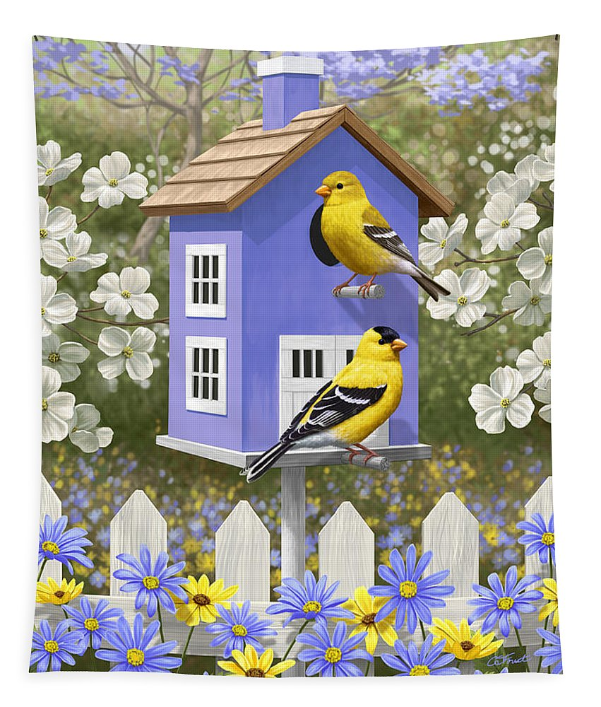 Wild Birds Tapestry featuring the painting Goldfinch Garden Home by Crista Forest