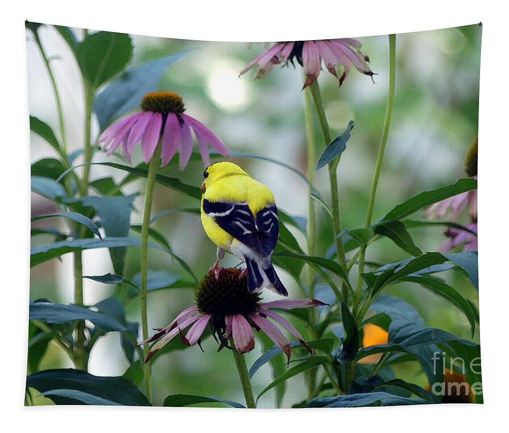 Yellow Tapestry featuring the photograph Goldfinch Visiting Coneflower by Amy Dundon