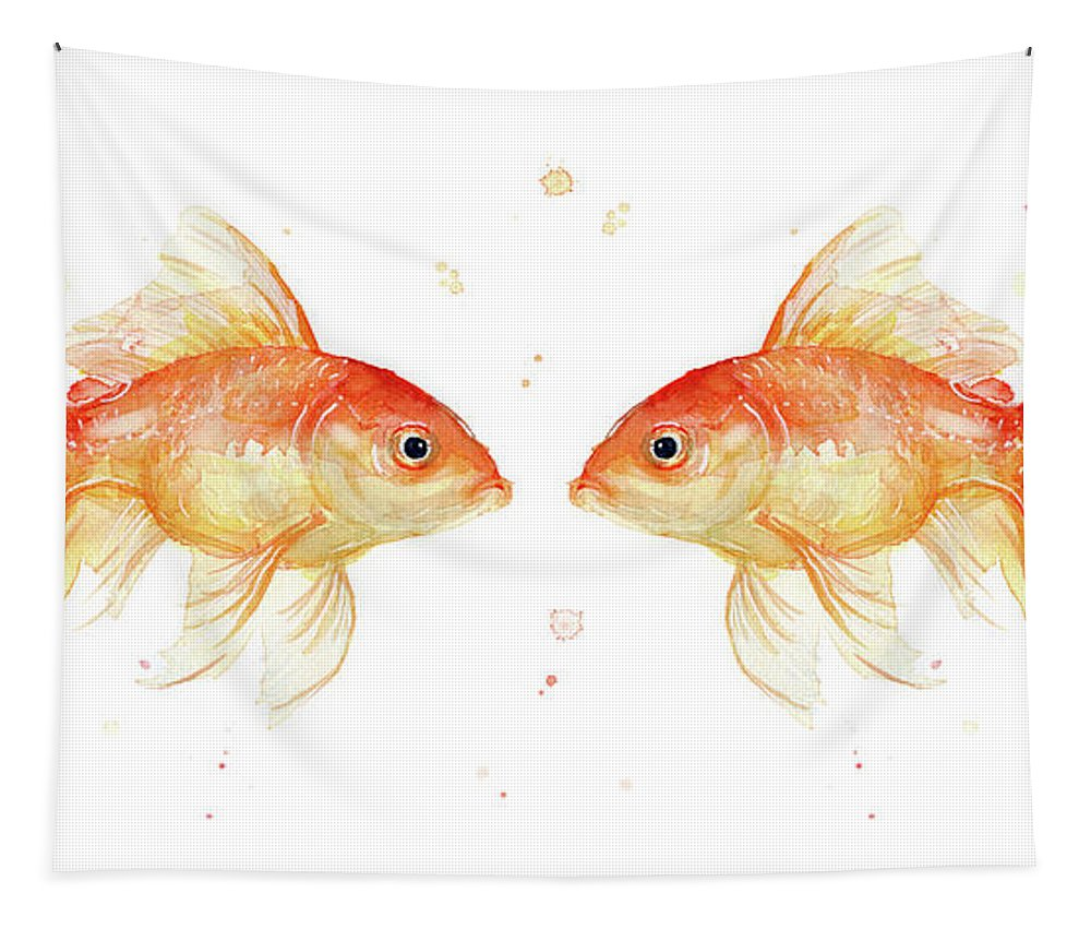 Gold Tapestry featuring the painting Goldfish Love Watercolor by Olga Shvartsur